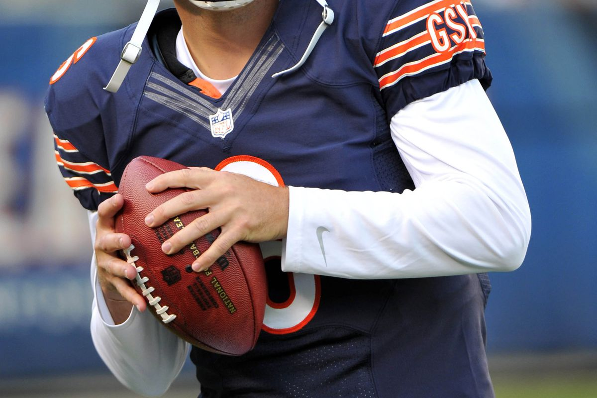 August 18, 2012; Chicago, IL, USA;  Chicago Bears quarterback Jay Cutler (6) looks to pass before the game against the Washington Redskins at Soldier Field.  Mandatory Credit: Rob Grabowski-US PRESSWIRE