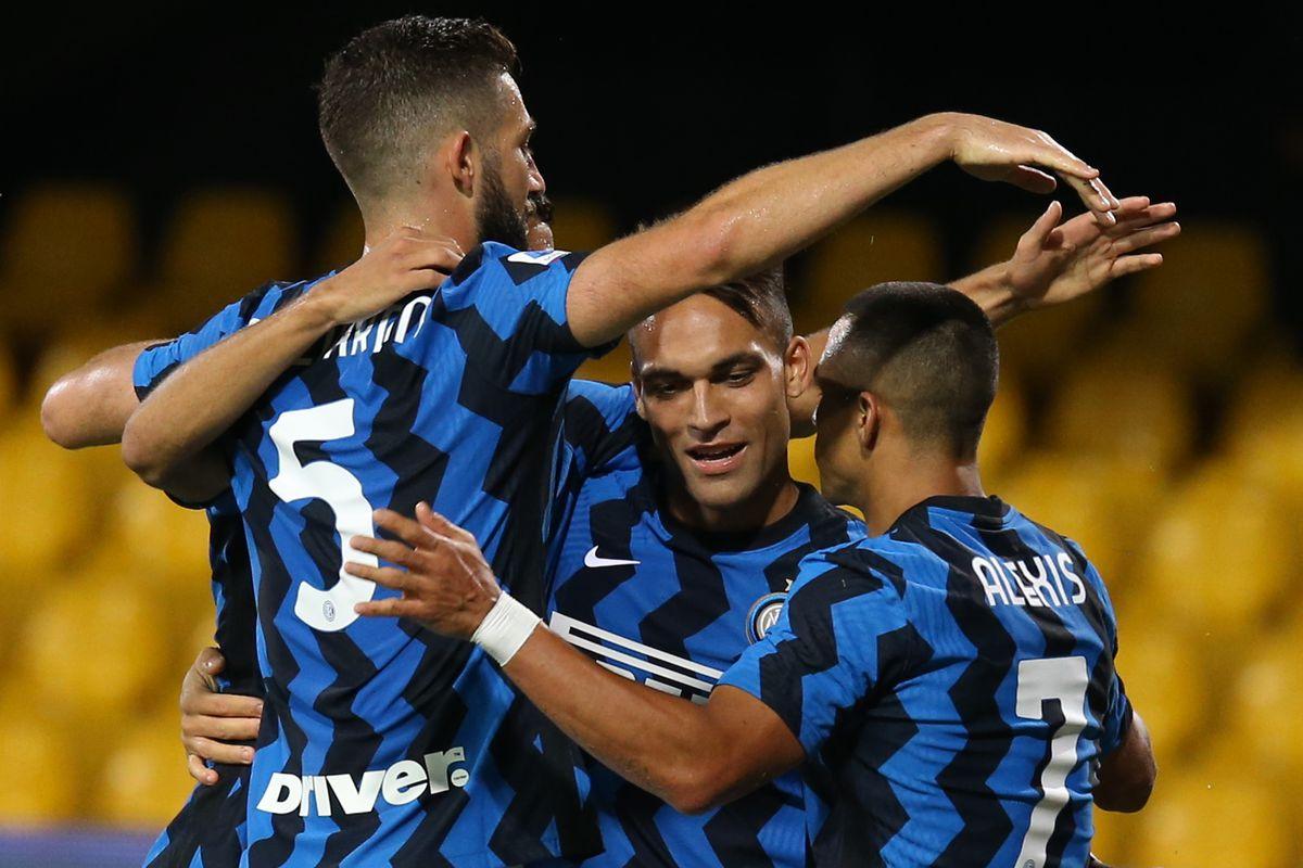Inter Milan's Argentinian forward Lautaro Martinez...