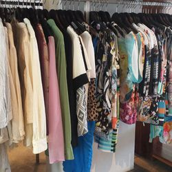 Plenty of Clover Canyon tanks and blouses starting at $125, with a few pieces from Equipment, Theory and others.