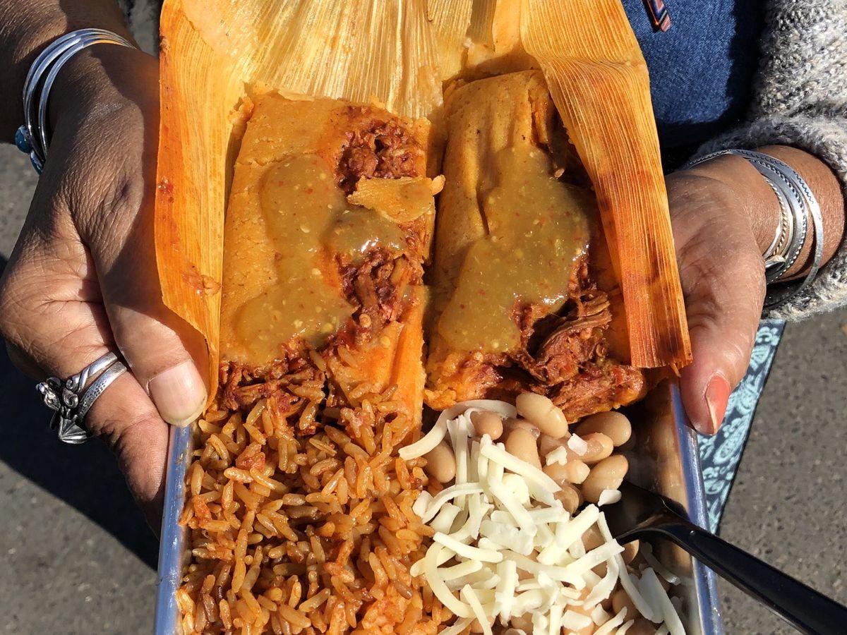 A tray of tamales from Yolanda's