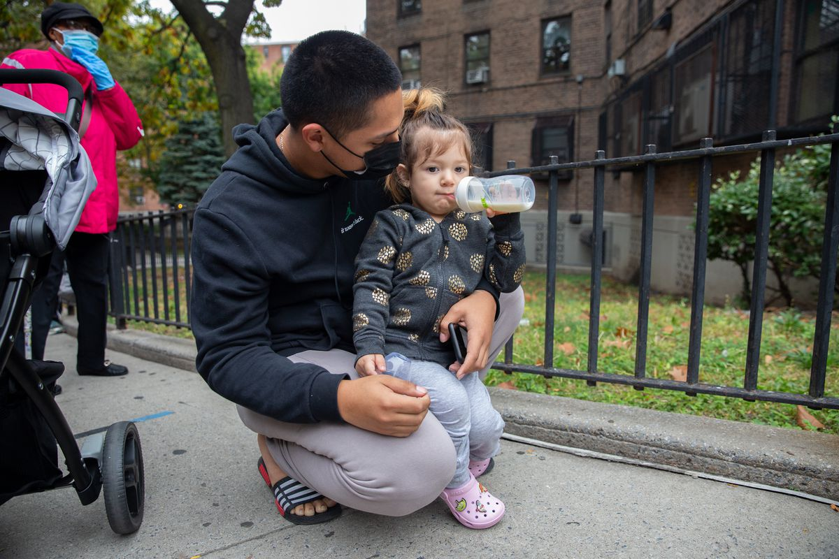 Alex Alejandro says NYCHA workers recently inspected his Queensbridge apartment, where he lives with his 2-year-old daughter, for lead. Oct. 23, 2020.