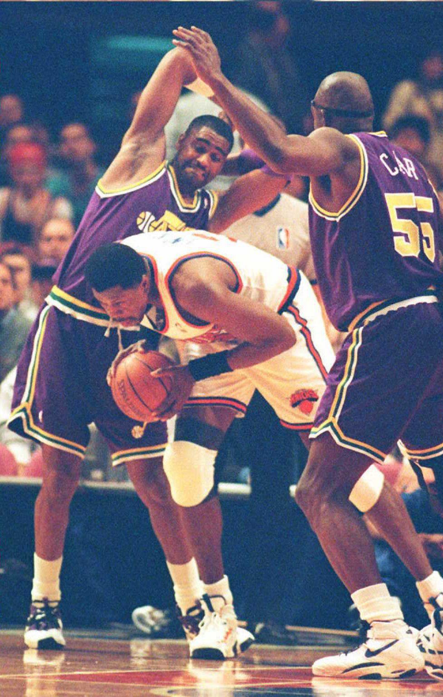 Utah Jazz Chris Morris(L) reacts as New York Knick