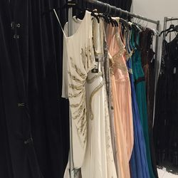 The Roberto Cavalli sample sale is going on right now at 150 Greene Street, and it has everything you want to buy for one of two scenarios: beach vacations or fancy parties. These party dresses ($980) definitely fit the latter.