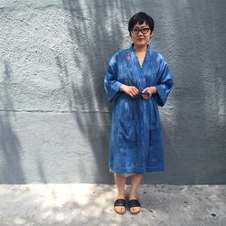 Botanica Workshop's designer Misa Miyagawa wore her own brand's indigo-dyed robe like a chic wrap dress.