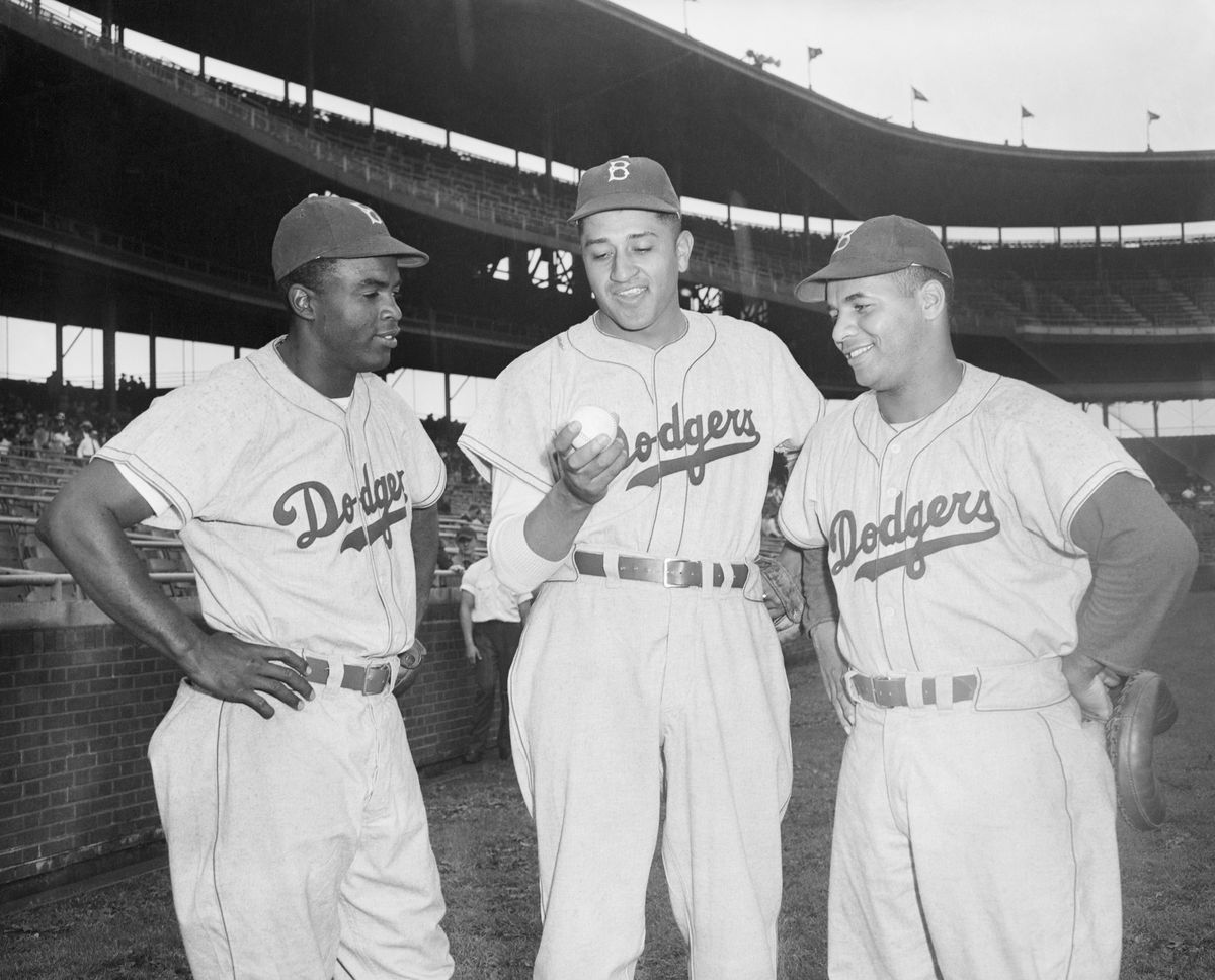 Robinson and Campanella With Don Newcombe