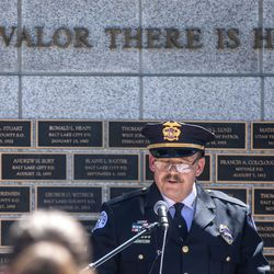 Ogden Police Chief Eric Young speaksduring the annual Utah Police Memorial Service at the Capitol in Salt Lake City on Thursday, May 6, 2021. During the service, police officers, family, friends and community leaders honored the 147 Utah police officers killed in the line of duty.