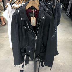 Black leather jacket, $346