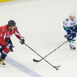 Ovechkin Challenged by Tanev