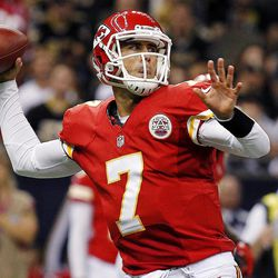 Kansas City Chiefs quarterback Matt Cassel (7) passes in the first half of an NFL football game against the New Orleans Saints in New Orleans, Sunday, Sept. 23, 2012.