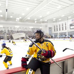 New York Riveters forward Amanda Kessel during the first half of the the NWHL All-Star Game in Cranberry Township, MA on Feb. 12.