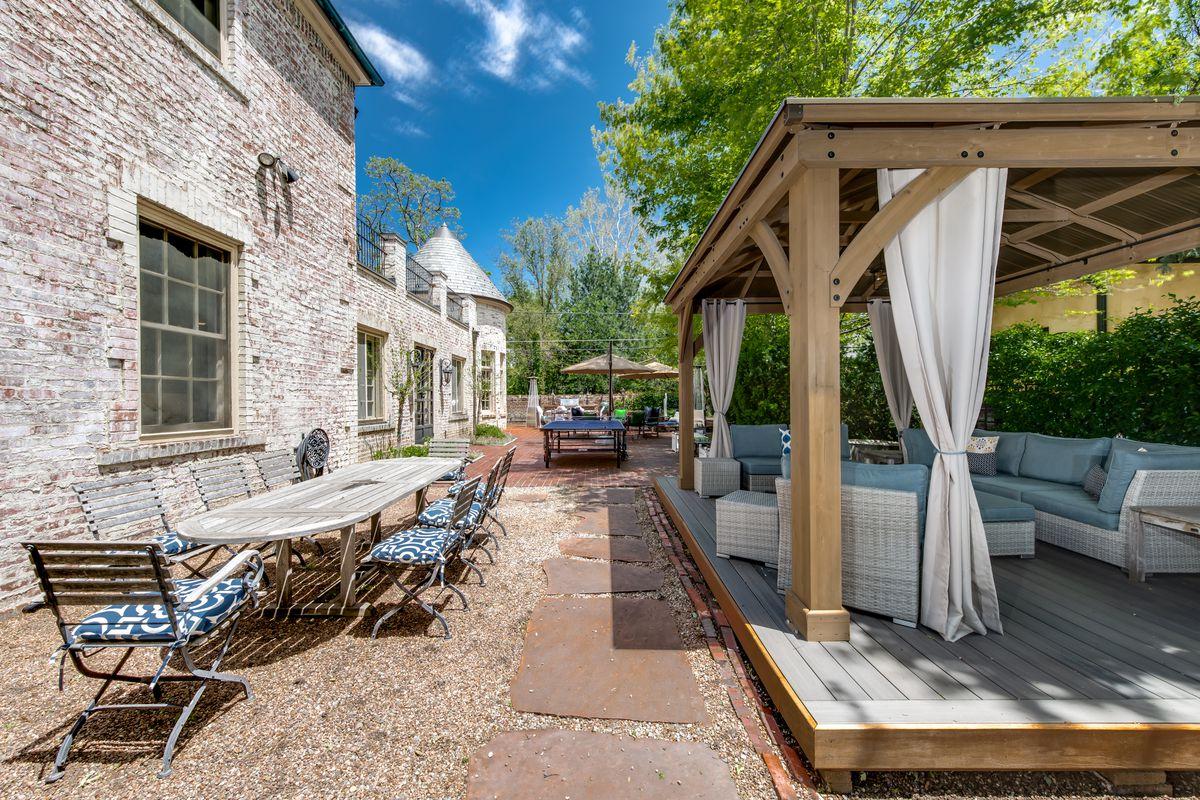 Backyard patio featuring pergola