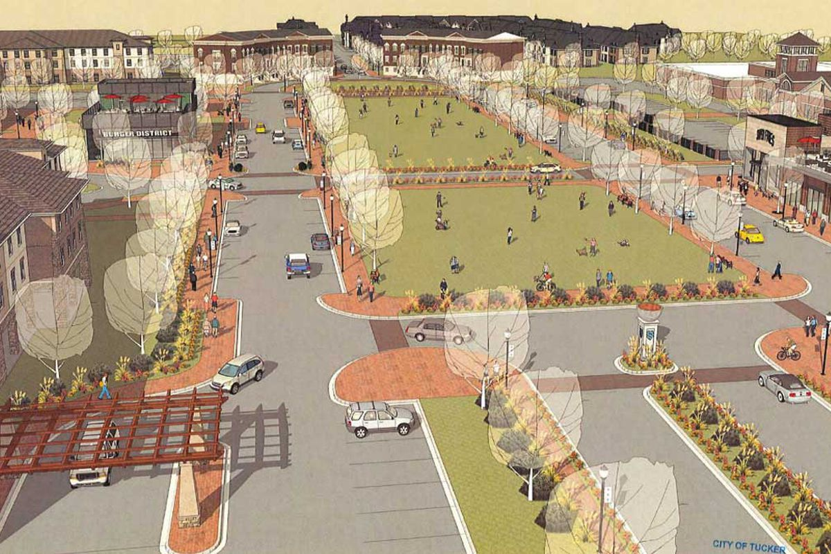 This shows an updated rendering of the proposal of a Ponce City Market something in Tucker.