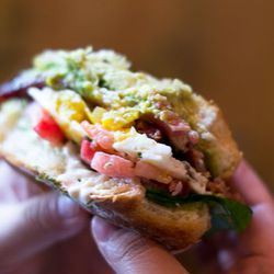 """Sandwich from Five Leaves by Five Leaves by <a href=""""http://www.flickr.com/photos/erin_can_spell/6051321797/in/pool-29939462@N00/"""">erin & camera</a>."""