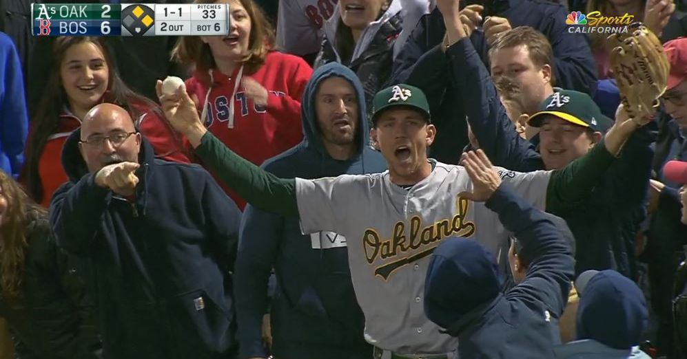 Stephen Piscotty ended up in the Fenway stands after an outstanding catch