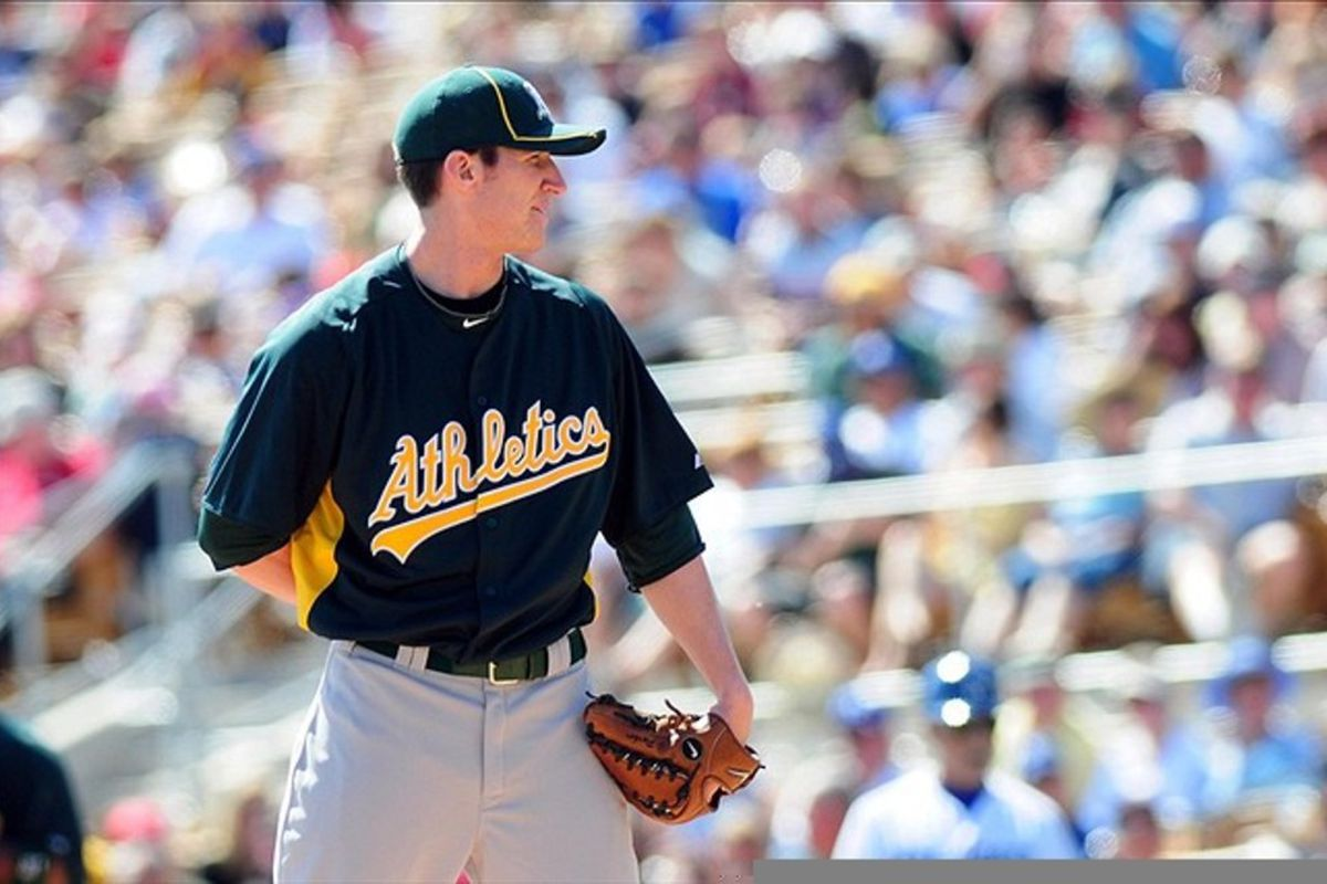 Mar. 8, 2012; Phoenix, AZ, USA; Oakland Athletics pitcher Jarrod Parker (74) during the first inning during a spring training game against the Los Angeles Dodgers at Camelback Ranch. Mandatory Credit: Jennifer Hilderbrand-US PRESSWIRE