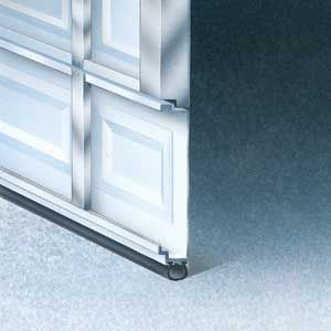 Steel skin of garage door with two types of insulation options: a 7/8-in. polystyrene layer bonded to the metal.