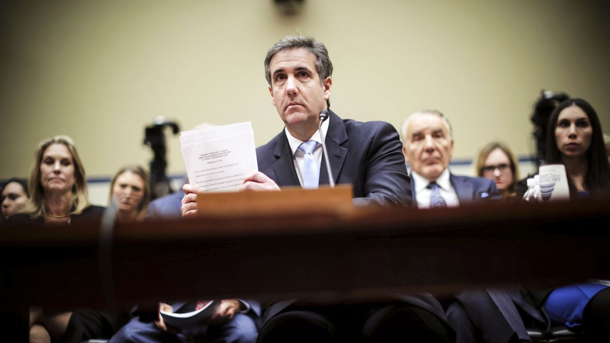 Former Trump attorney Michael Cohen testifying to the House Oversight Committee.
