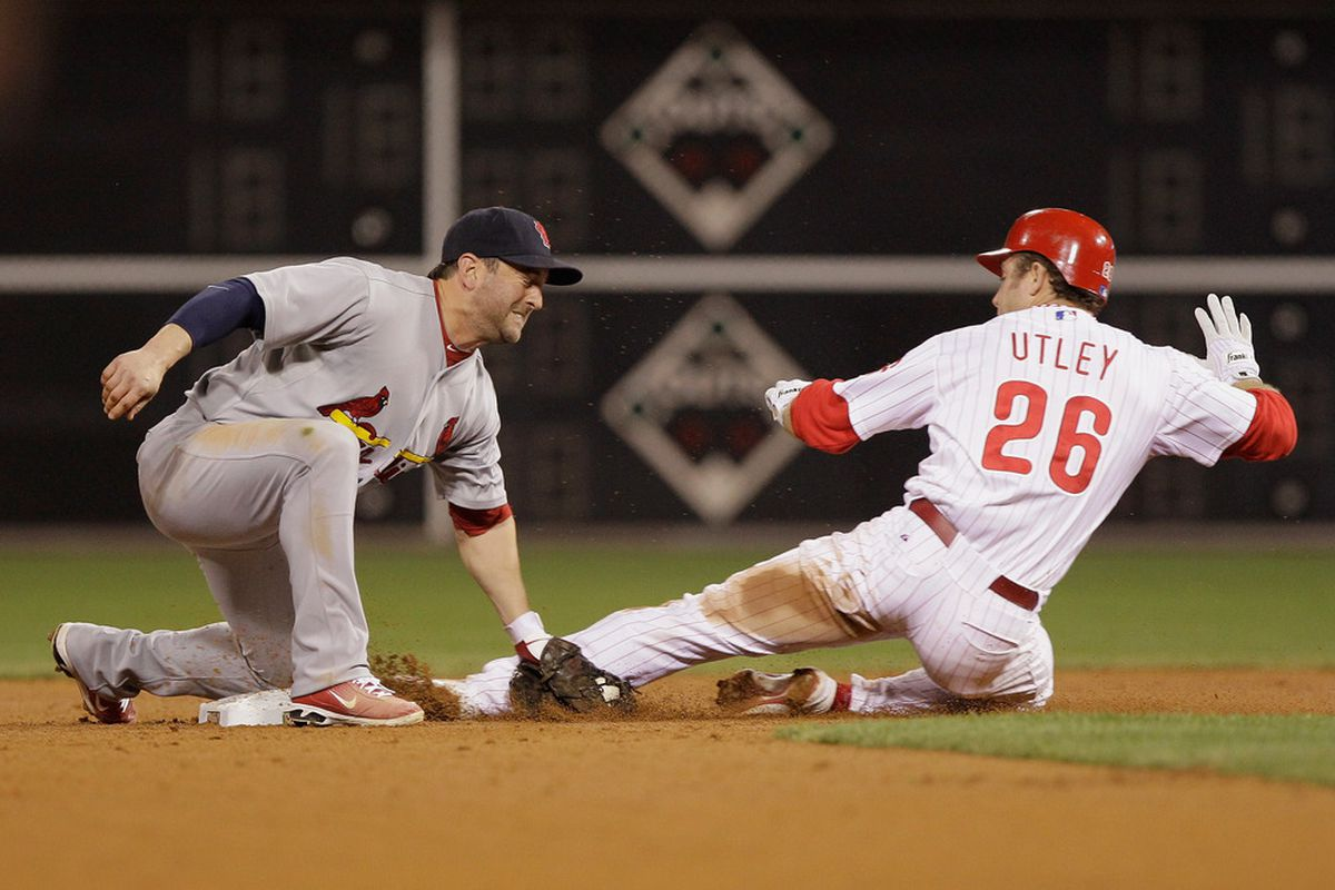 This slide couldn't have helped Utley's knees.