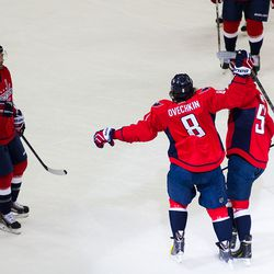 Ovechkin Celebrates With Green and Brouwer