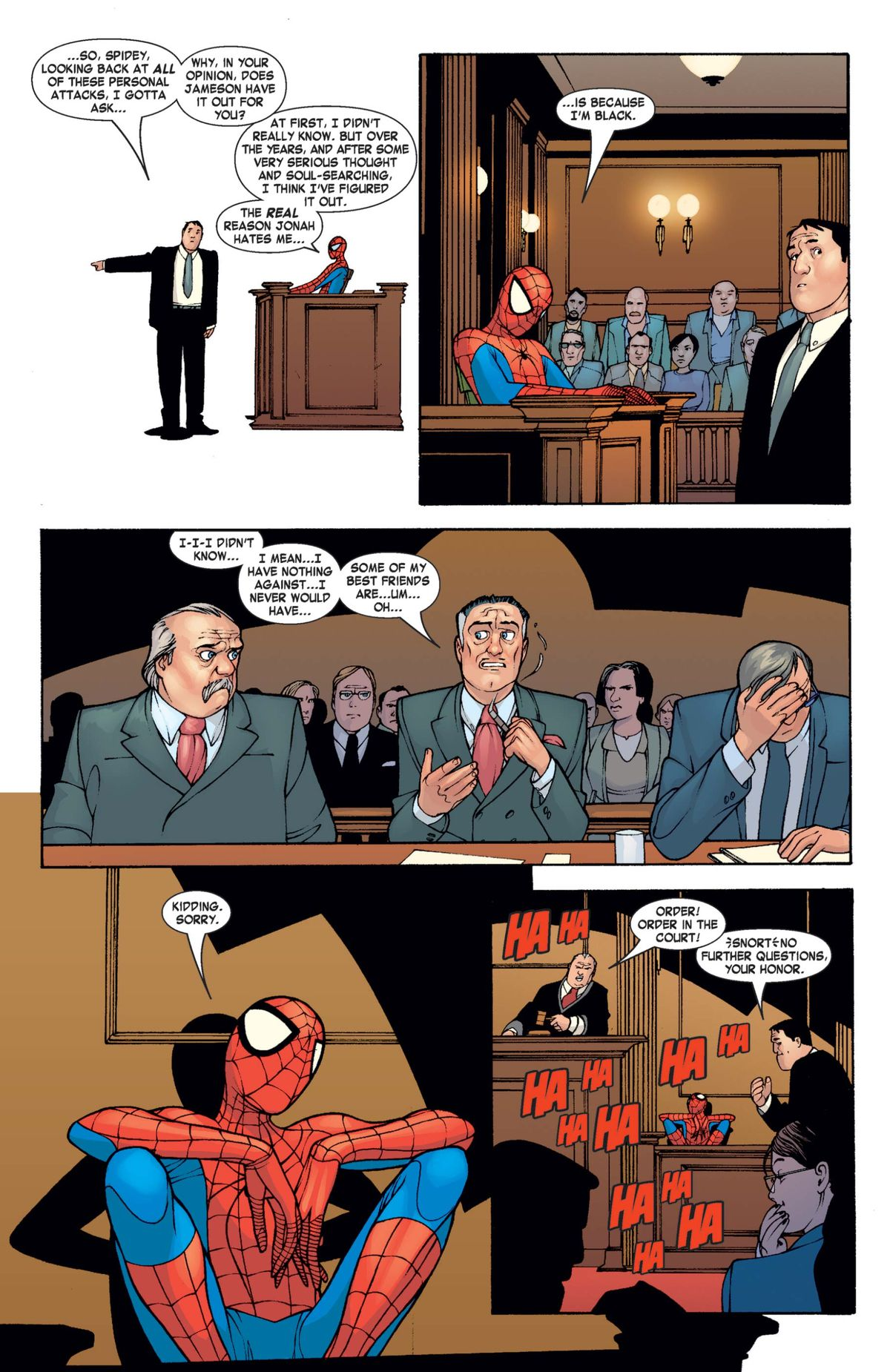 Spider-Man on the stand while suing J. Jonah Jameson for libel in She-Hulk #4, Marvel Comics (2004).