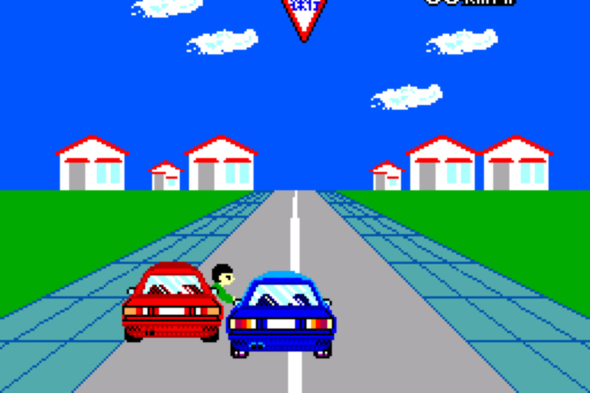Blocky 1988 8-bit graphics showing cars doing unsafe things. One passenger is sticking his head out the window.
