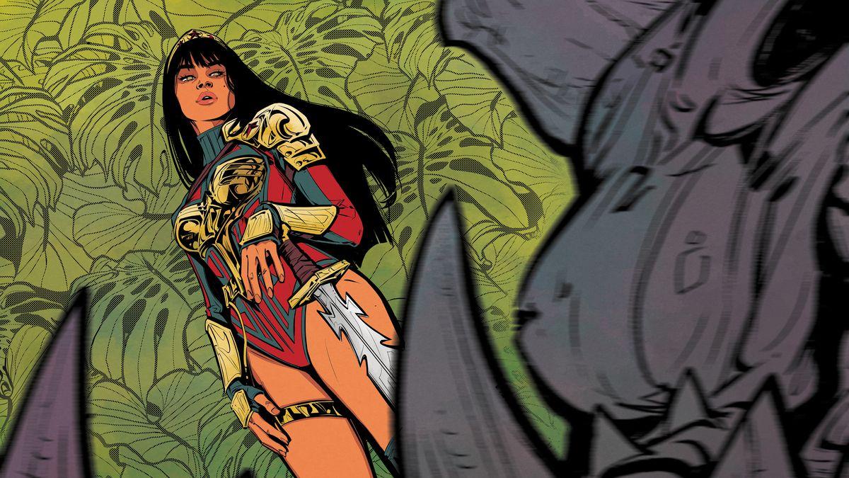 Yara Floor/Wonder Woman stands above the fangs of her slain foe in Future State: Wonder Woman #1, DC Comics (2021).