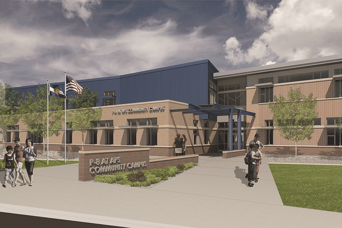 An artist's rendering of the front of Aurora Public School's new school that is expected to open next year. The school will serve preschool through eighth graders at 6th Avenue and Airport.