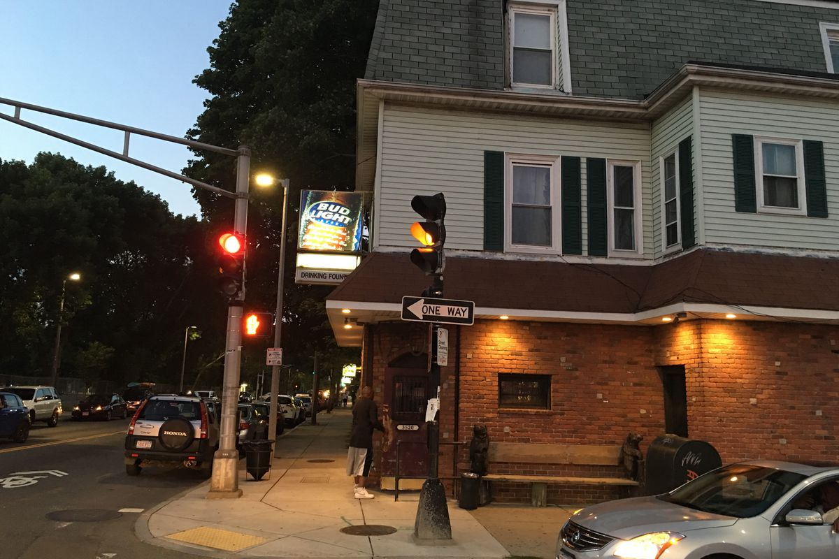 Exterior of Drinking Fountain dive bar in Jamaica Plain