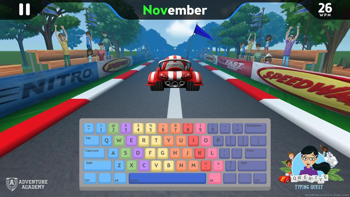 Adventure Academy offers a typing and racing game hybrid