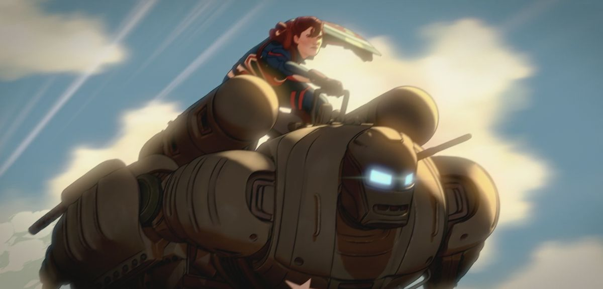 Captain Carter flies on the back of the Hydra Smasher armor in What If ...?