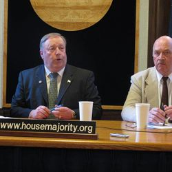 House Speaker Mike Chenault and Rep. Alan Austerman were among the House majority members who appeared before reporters for a news conference after the Senate decided to adjourn from the special session on Thursday, April 26, 2012, in Juneau, Alaska. Chenault was exasperated by a Senate decision to adjourn, leaving a gas pipeline bill that he considers a priority unresolved.