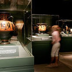"""The renowned collection from the Boston Museum of Fine Arts features 204 pieces. At far left is """"Black Figure Amphora,"""" a two-handled storage jar for wine, which is Greek, Archaic Period, about 530 B.C."""
