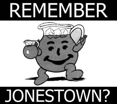 An internet meme depicts the Kool-Aid man with Jonestown.