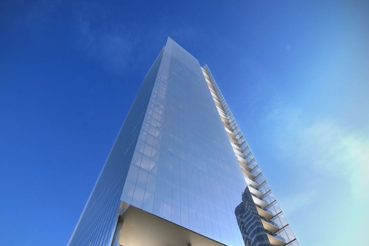 How the facade of No2 Opus Place in Atlanta could look.