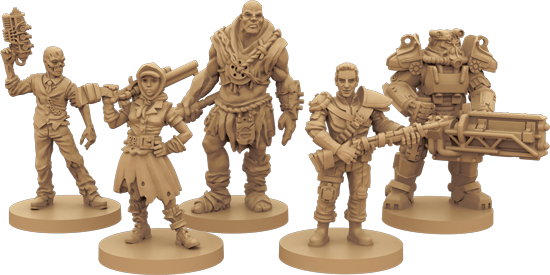 Mock-ups of Fallout miniatures, including a Ghoul, Wastelander, Super Mutant, Vault dweller and a member of the Brotherhood of Steel.