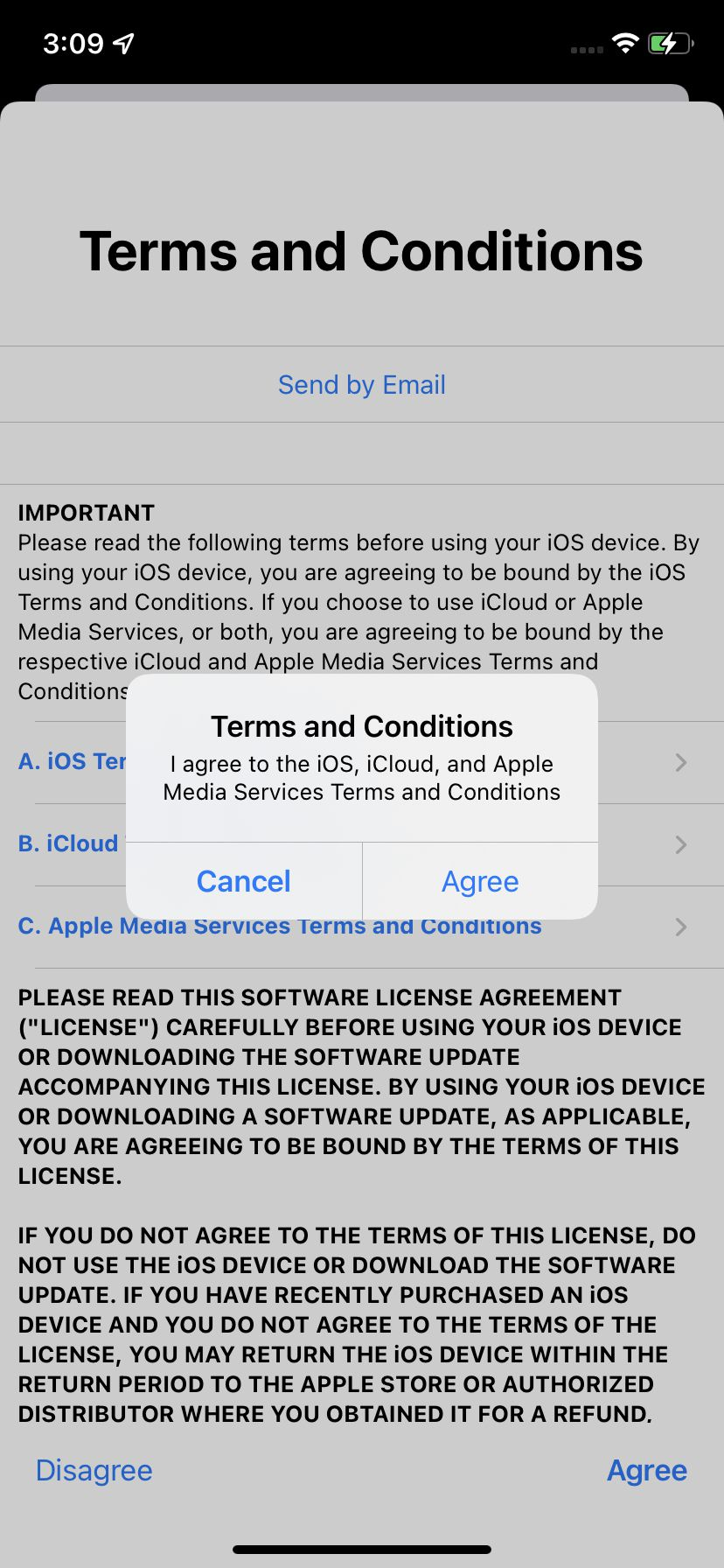 """You'll have to agree to Apple's """"Terms and Conditions."""""""