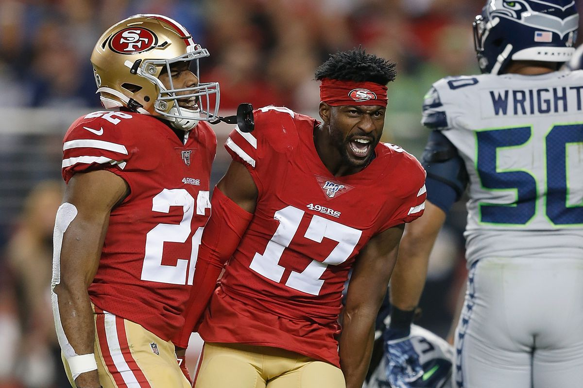 Emmanuel Sanders of the San Francisco 49ers reacts after making a play for a first down in the first quarter against the Seattle Seahawks at Levi's Stadium on November 11, 2019 in Santa Clara, California.