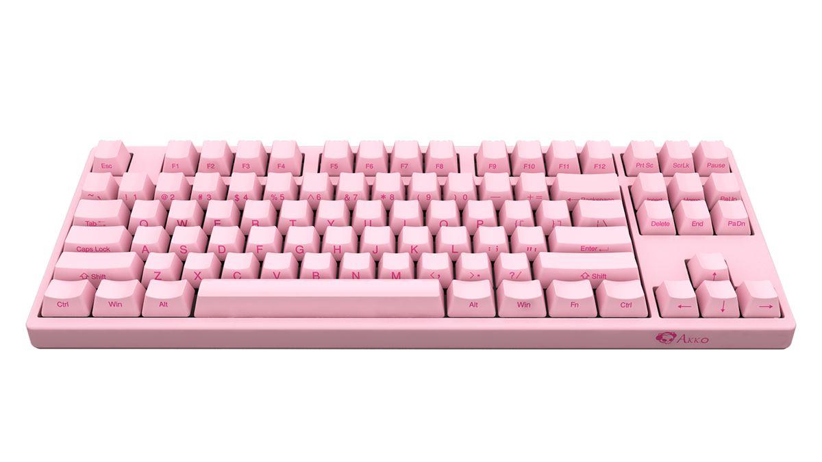 A product shot of the Akko 3087 keyboard in Sakura Pink