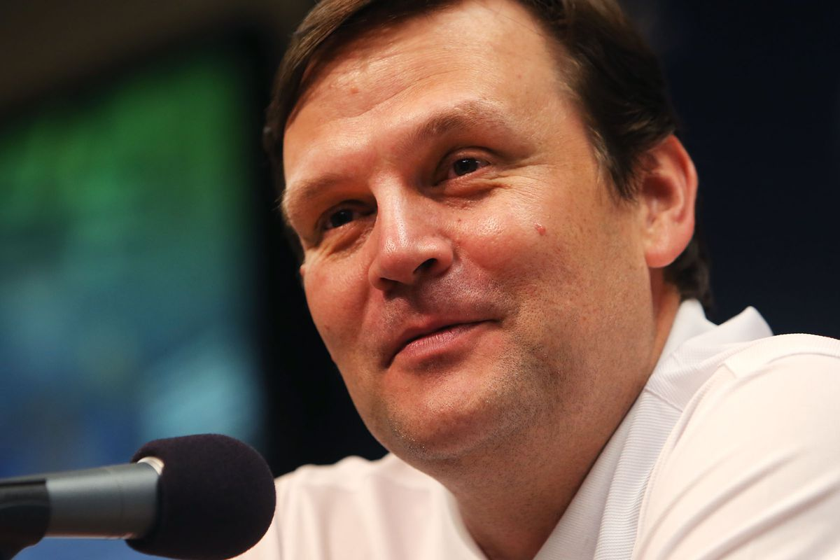 Utah Jazz general manager Dennis Lindsey answers a question Thursday, June 27, 2013. On Monday, March 15, 2021, the NBA announced it had found no corroborating evidence to support allegations that Lindsey made inappropriate comments to Elijah Millsap.