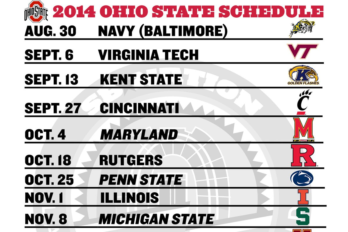 printable ohio state football schedule 2014 land grant holy land