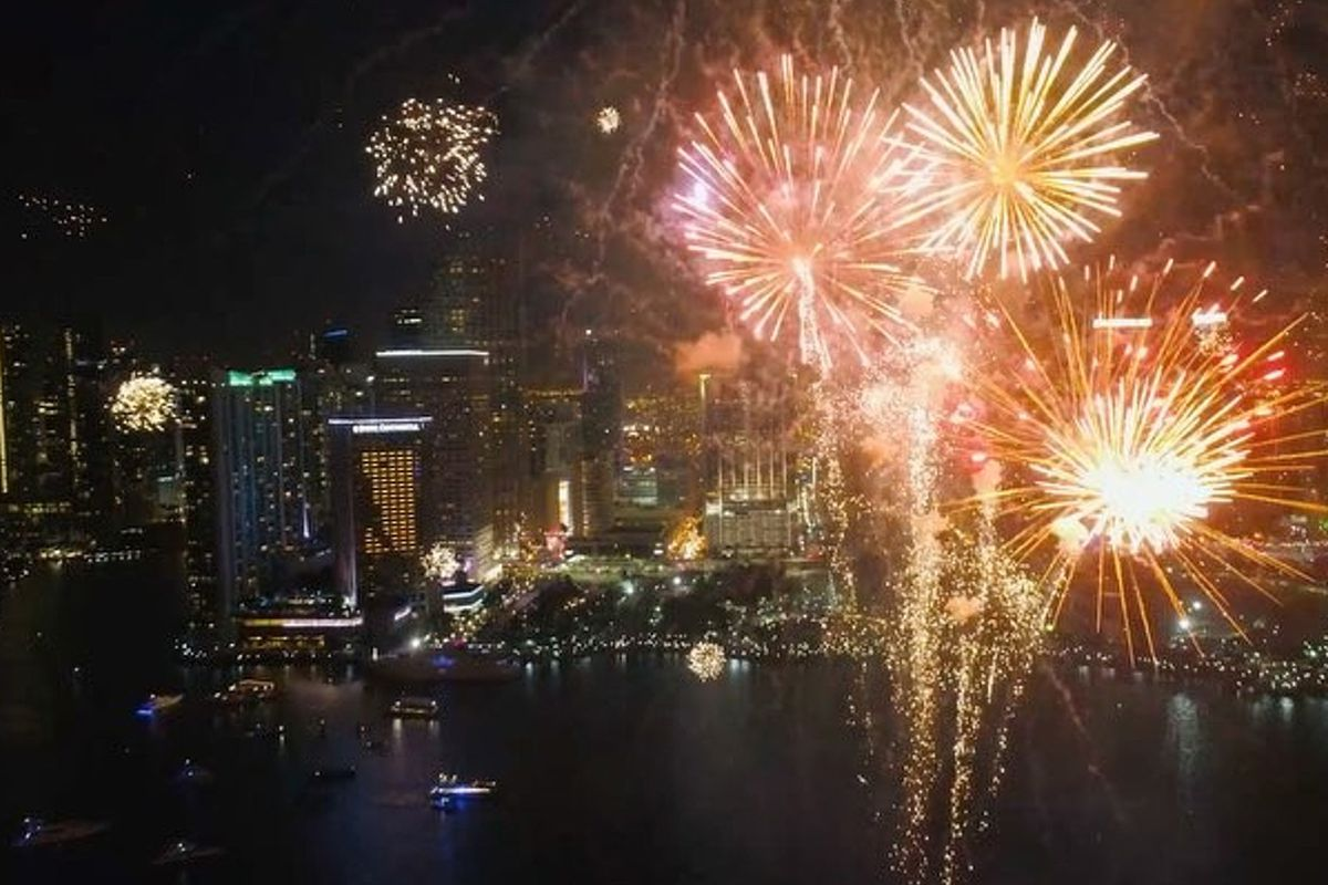 A screenshot from a drone video capturing Miami fireworks yesterday