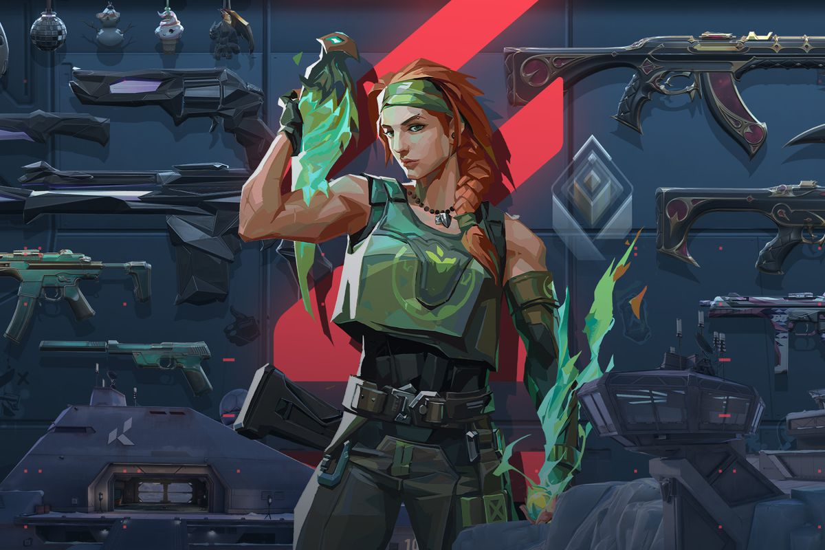 artwork from Valorant of Skye, a red-haired musclebound woman, standing in front of a wall of guns