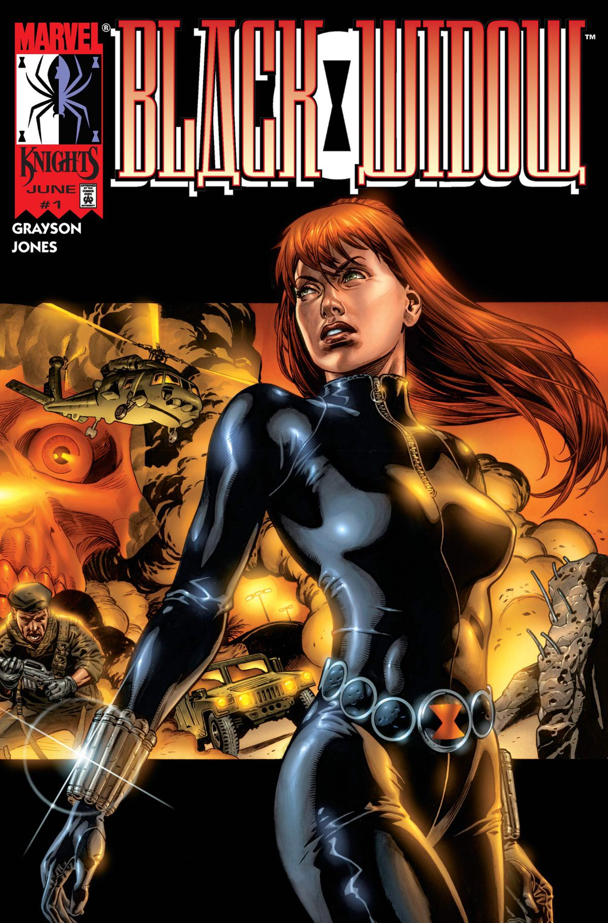 Natasha Romanoff/Black Widow stands in front of a collage of explosions and armed men on the cover of Black Widow #1 (1999).