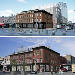 The design as built at 27 Ninth from Morris Adjmi Architects (top), and an earlier proposal (bottom).