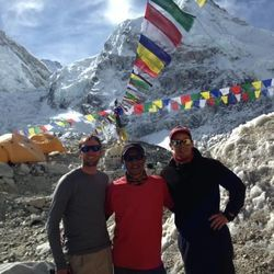Steve Pearson and Dave Roskelley with their Sherpa guide Thile Nuru, at base camp. Base camp was their home for about a month, Pearson said.