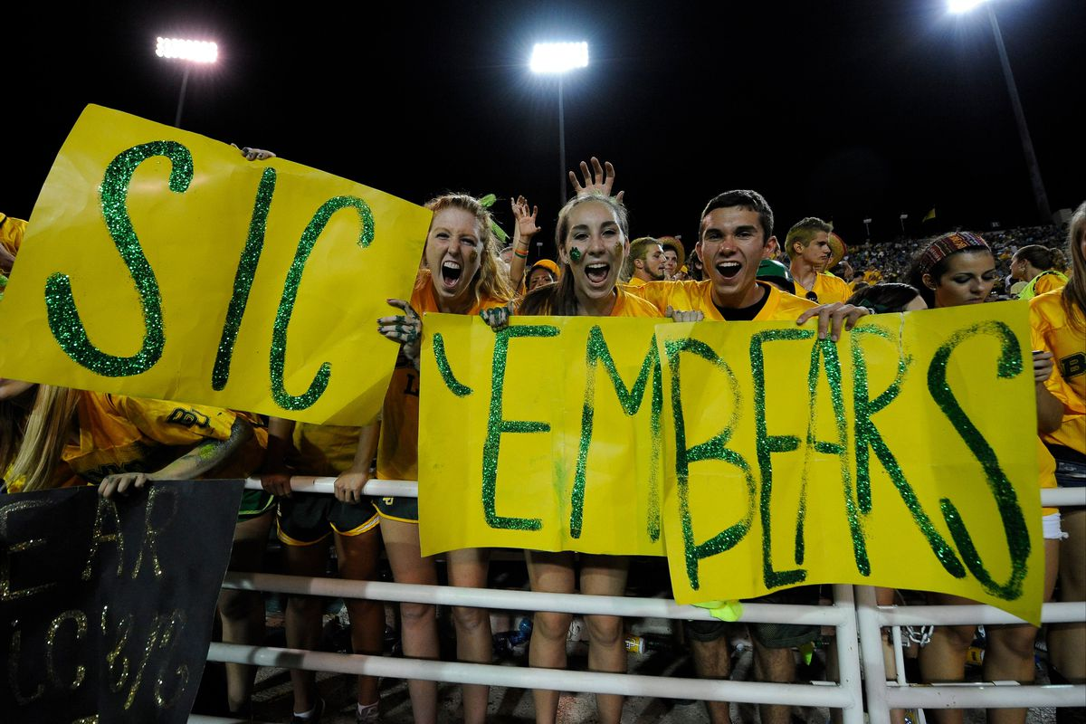 Sep 2, 2012; Waco, TX, USA; The Baylor Bears fans root for their team during the third quarter against the Southern Methodist Mustangs at Floyd Casey Stadium. The Bears defeated the Mustangs 59-24. Mandatory Credit: Jerome Miron-US PRESSWIRE