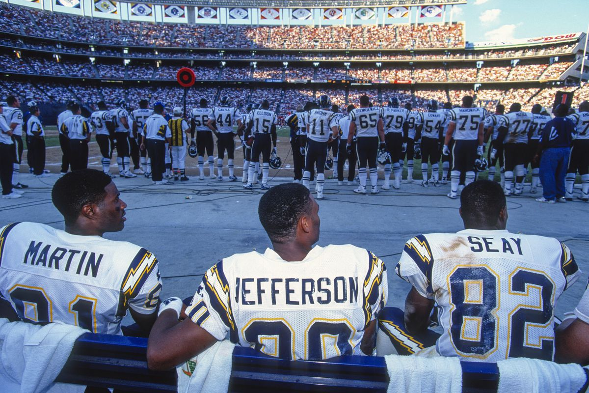 S. D. Chargers - WR # 81 Tony Martin, WR # 80 Shawn Jefferson, WR # 82 Mark Seay