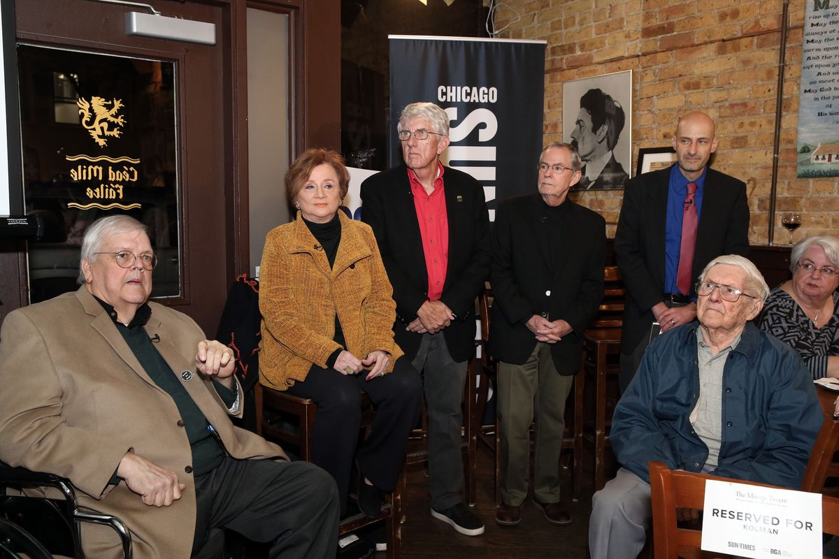 Zay Smith (from left) with the rest of the Mirage team, reporters Pam Zekman and William Recktenwald and photographers Jim Frost and Gene Pesek, at the 40th anniversary celebration of the Mirage tavern sting Jan. 25, 2018.