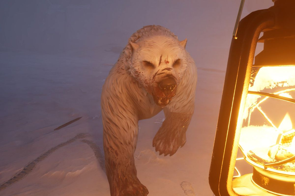 Dread Hunger - a big angry undead polar bear approaches the player, who is holding a lantern