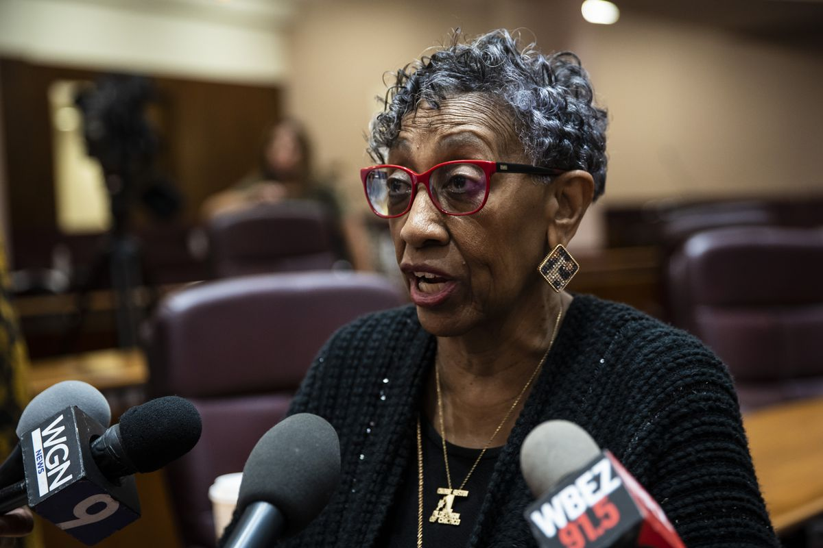 Ald. Carrie Austin (34th) speaks with reporters after a Chicago City Council meeting at City Hall, Wednesday morning, June 23, 2021.